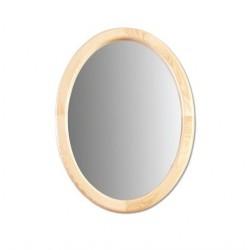 Oválne zrkadlo s dreveným rámom