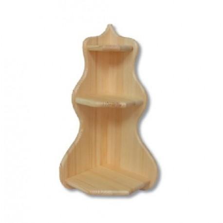 Rohová drevená trojpolička PK130