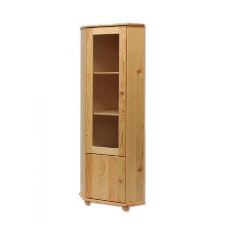 Rohová drevená vitrína z masívu KW114