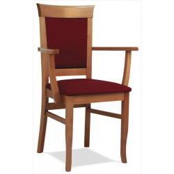 Masívna čalúnená stolička s podrúčkami