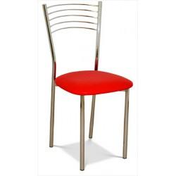 Kovová stolička s čaluneným sedákom