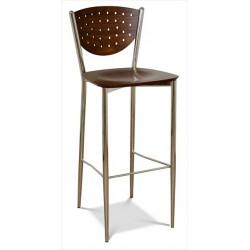 Barová stolička s dreveným sedákom