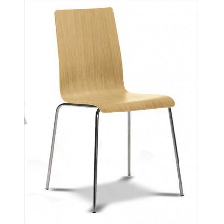 Stohovateľná stolička s dreveným sedákom