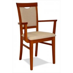 Drevené kreslo s čalúneným sedákom s podrúčkami