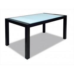 Dýhovaný stôl so sklom