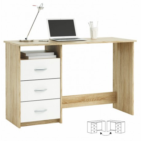 PC stôl LARISTOTE - dub sonoma biela