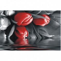 Červeno-sivý obraz tulipánov F002859F