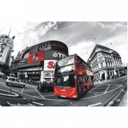 Červený autobus v sivom meste