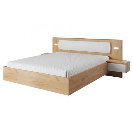Manželská posteľ XELO s nočnými stolíkmi a LED osvetlením