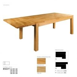 Rozkladací stôl z dubového dreva ST302 s hrúbkou platne 4 cm