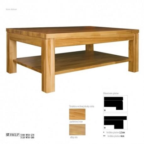 Dubový stolík s úložným priestorom s hrúbkou platne 2,5 cm ST310