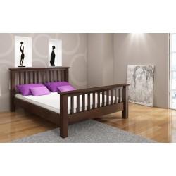 Masívna borovicová manželská posteľ LINDGREN palisander