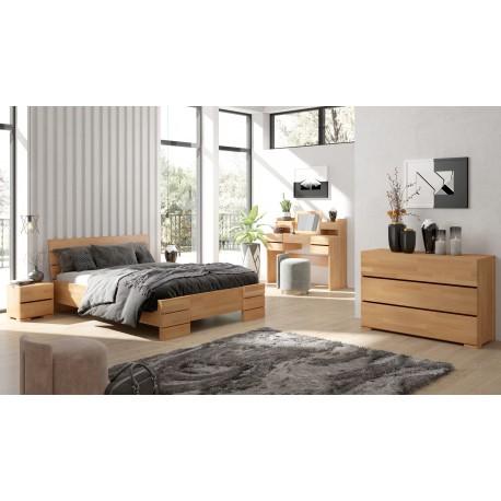 Vysoká a dlhá posteľ z bukového dreva SANDEMO