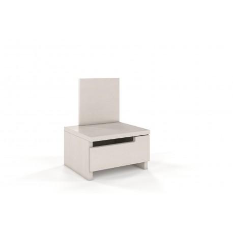 Masívny borovicový nočný stolík BERGMAN biele morenie