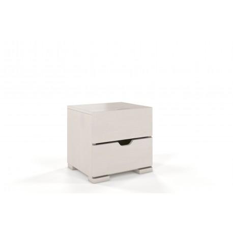 Dvojzásuvkový nočný stolík z buku SALERNO biele morenie