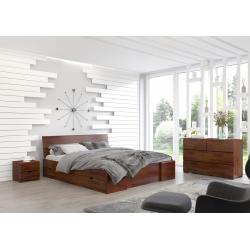 Masívna posteľ z borovice s úložným priestorom