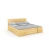 Masívna posteľ z borovice s úložným priestorom prírodné morenie