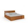 Masívna posteľ z borovice s úložným priestorom morenie jelša