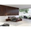 Masívna vysoká borovicová posteľ  SALERNO so zásuvkovým úložným priestorom