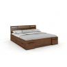 Masívna vysoká borovicová posteľ SALERNO morenie dub
