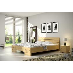 Vysoká borovicová posteľ  SANDEMO s úložným priestorom