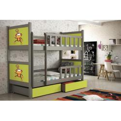 Detská poschodová posteľ sivý rám + limetkové MDF dosky + potlač opica