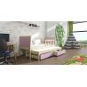 Detská posteľ s prístelkou PINOKIO 4  borovicový rám + levanduľové MDF dosky