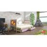 Detská posteľ s prístelkou PINOKIO 4  borovicový rám + levanduľové MDF dosky + potlač lev