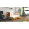 Detská posteľ s prístelkou PINOKIO 4  borovicový rám + oranžové MDF dosky + potlač lienka