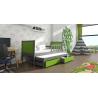 Detská posteľ s prístelkou PINOKIO 4  sivý rám + zelené MDF dosky