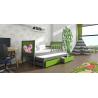 Detská posteľ s prístelkou PINOKIO 4  sivý rám + zelené MDF dosky + potlač motýľ