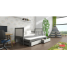 Detská posteľ s prístelkou PINOKIO 4  sivý rám + biele MDF dosky