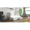 Detská posteľ s prístelkou PINOKIO 4  biely rám + biele MDF dosky