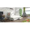 Detská posteľ s prístelkou PINOKIO 4  biely rám + biele MDF dosky + potlač krava