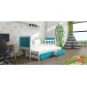 Detská posteľ s prístelkou PINOKIO 4  biely rám + modré MDF dosky