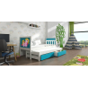Detská posteľ s prístelkou PINOKIO 4  biely rám + modré MDF dosky + potlač poník