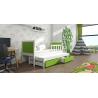 Detská posteľ s prístelkou PINOKIO 4  biely rám + zelené MDF dosky