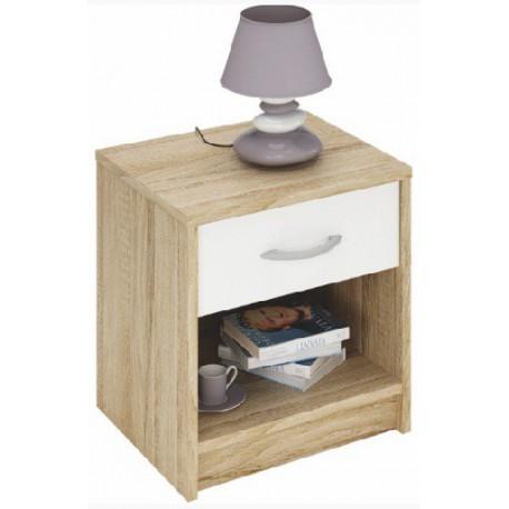 Nočný stolík s bielou zásuvkou