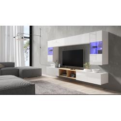 Obývacia stena CALABRINI 24 biely lesk - zavesený spodný segment
