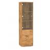 Sklenená vitrína so zásuvkami - dub lancelot