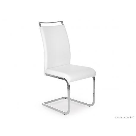 Čalúnená stolička v bielej ekokoži