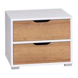 Nočný stolík IWA - biela/dub zlatý