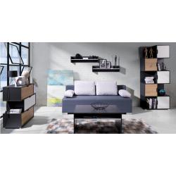 Zostava do obývacej izby Iwa 4 - grafit/biela/dub artisan