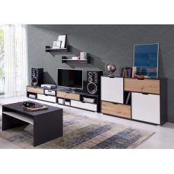 Zostava do obývacej izby Iwa 6 - grafit/biela/dub artisan