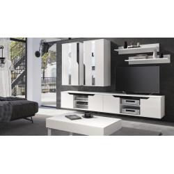 Zostava do obývačky Lanco 3 - biela/biela+čierny lesk