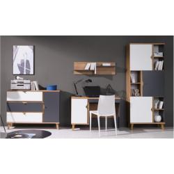Kancelária Memone - grafit+biela/dub zlatý