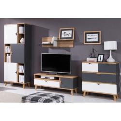 Obývacia izba Memone - grait+biela/dub zlatý