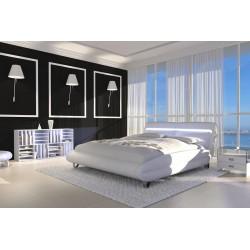 Biela posteľ s LED osvetlením