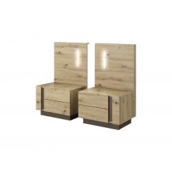 Nočné stolíky s osvetlením Arco - dub artisan