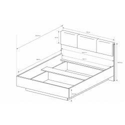 Manželská posteľ Arco - biely lesk